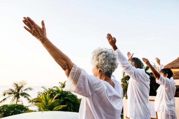 午前中にヨガを練習している高齢者のグループ Premium写真