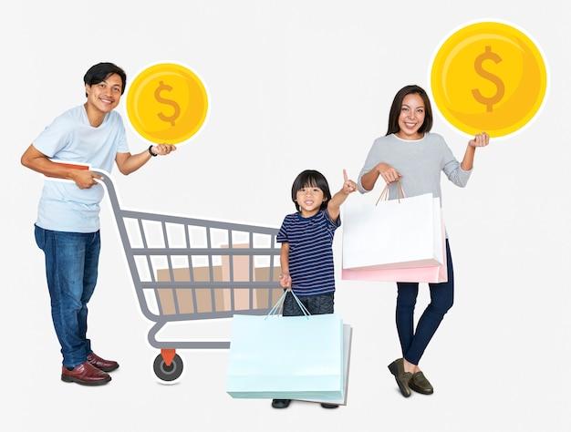 幸せな家族の買い物アイコンを保持 Premium写真
