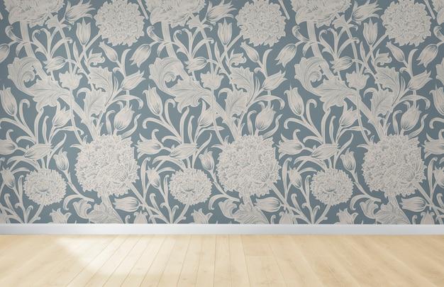 木製の床と空の部屋で花の壁紙 無料写真