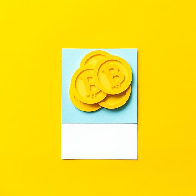 ビットコインのペーパークラフトアート 無料写真