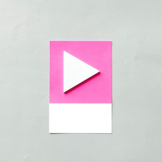 再生ボタンのペーパークラフトアート 無料写真