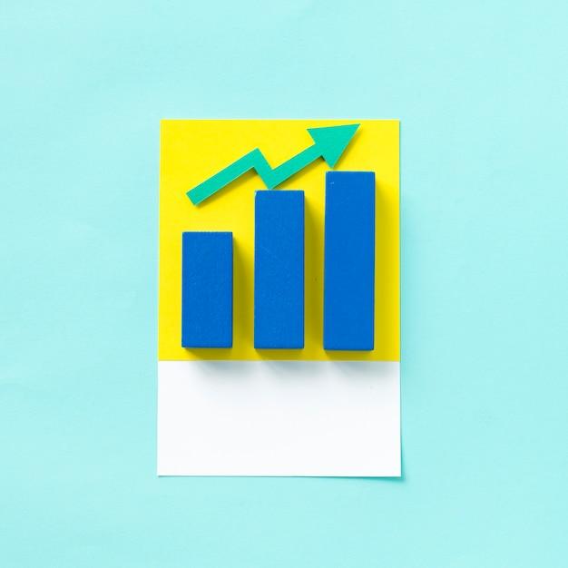 ビジネスグラフのペーパークラフトアート 無料写真