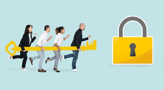 金色の鍵を保持しているビジネス人々 無料写真