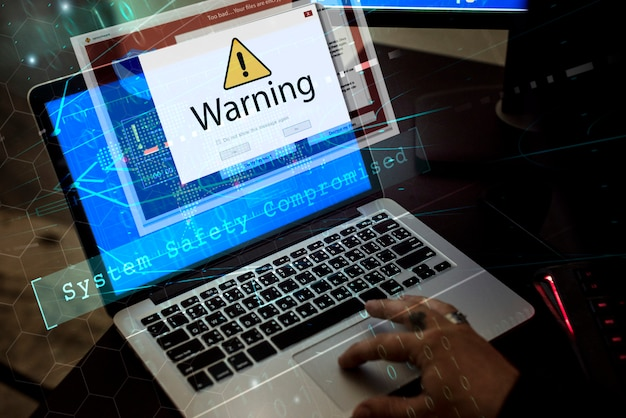 警告ポップアップコンピューターサインオンウィンドウ Premium写真