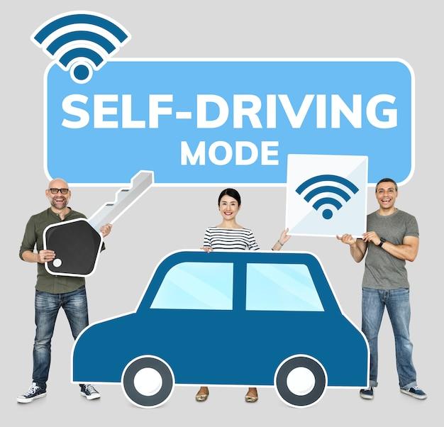 Счастливые люди с высокотехнологичным автомобилем Premium Фотографии