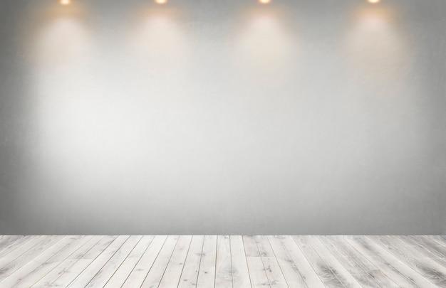 空の部屋でスポットライトの行を持つ灰色の壁 Premium写真