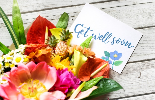 花束とメッセージをすぐによくなります Premium写真
