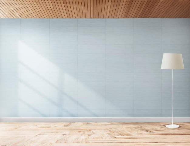 青い部屋でスタンディングランプ 無料写真