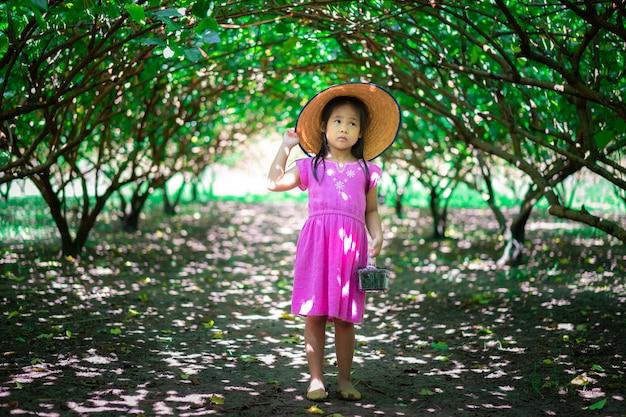 庭で桑の実を探している小さなアジアの女の子の帽子を着用 Premium写真