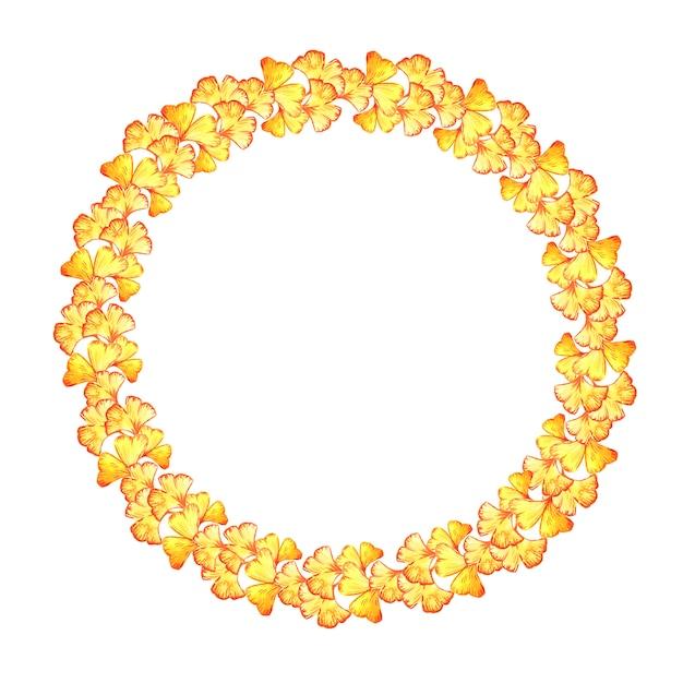 イチョウ葉の黄色い葉のラウンドフレーム。 Premium写真