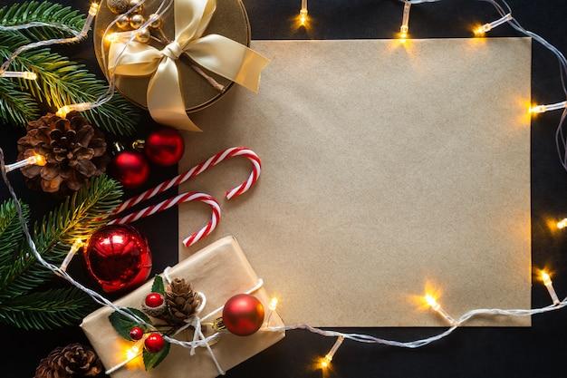 Рождественская композиция с орнаментом Premium Фотографии