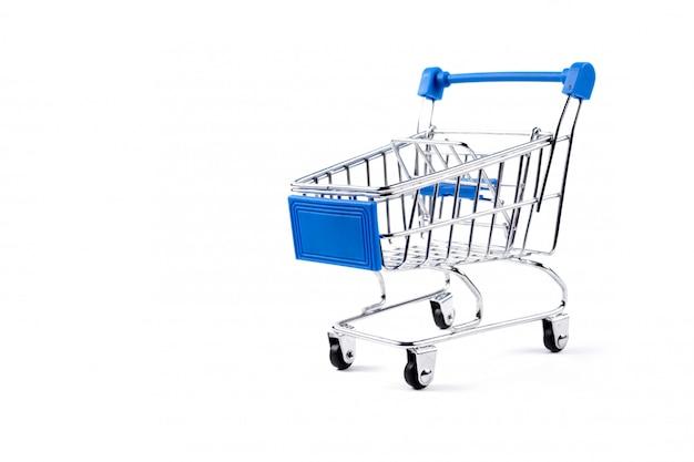 シルバーとブルーのショッピングカート Premium写真