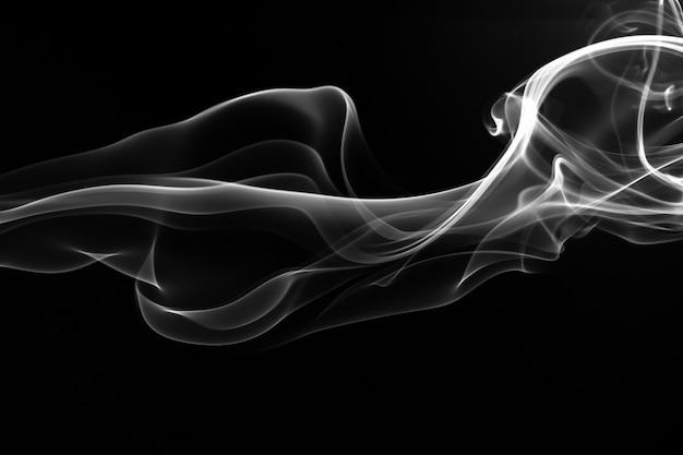Белый дым аннотация на черном фоне, огонь Premium Фотографии