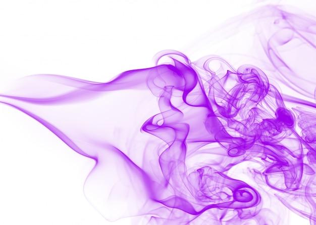 白い背景の上の密な煙、紫煙抽象 Premium写真
