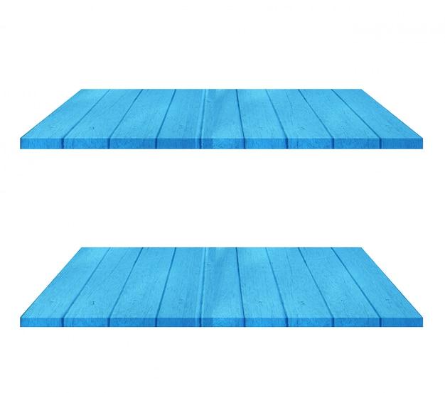 Комплект пустой голубой деревянной таблицы полки на белой предпосылке. монтаж вашего продукта Premium Фотографии
