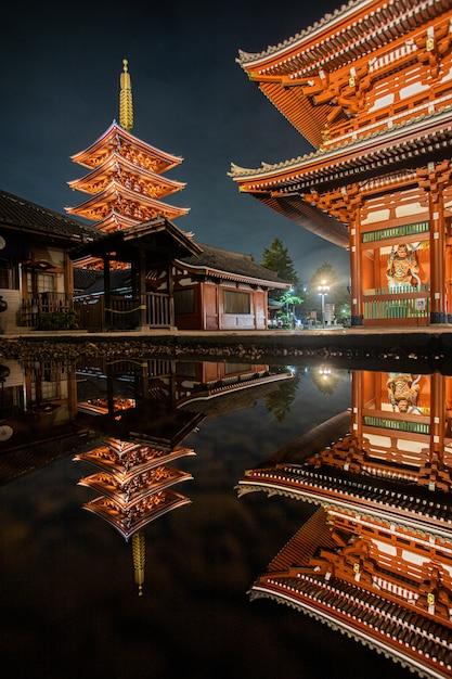 夜の赤いランプ寺院 Premium写真