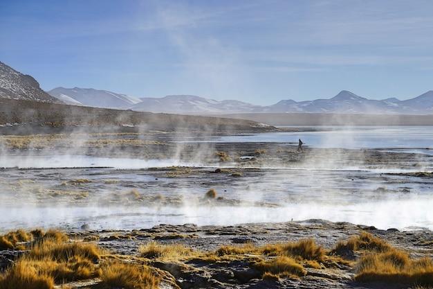 ボリビアのウユニにある熱い天然の泉とその流れ。 Premium写真