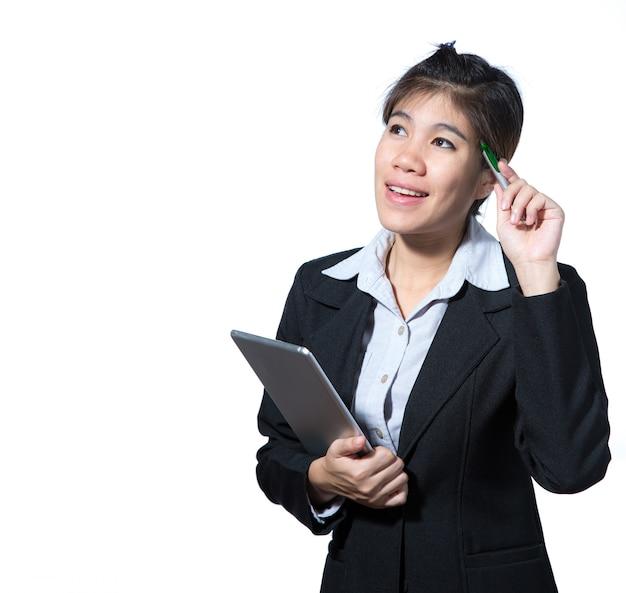 ビジネスの女性、コンピューターのタブレット、デザインのためのスペースを持つビジネスコンセプト思考成功を保持 Premium写真
