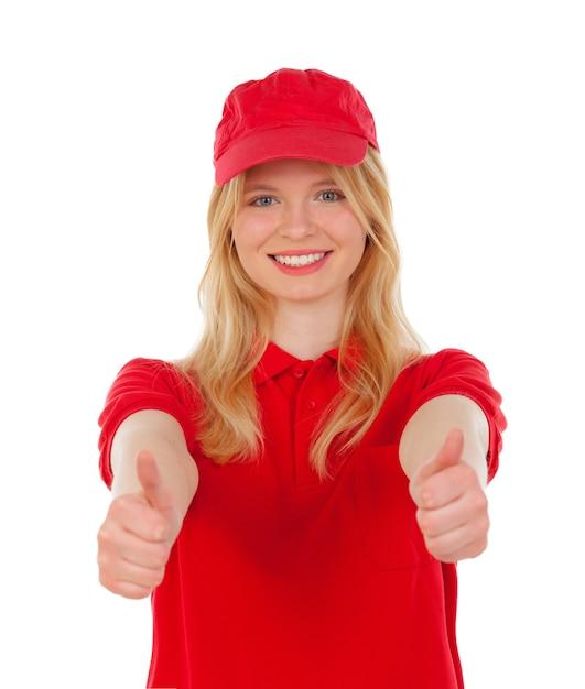 Молодая блондинка женщина одет дилер с красной униформе говоря, ок Premium Фотографии
