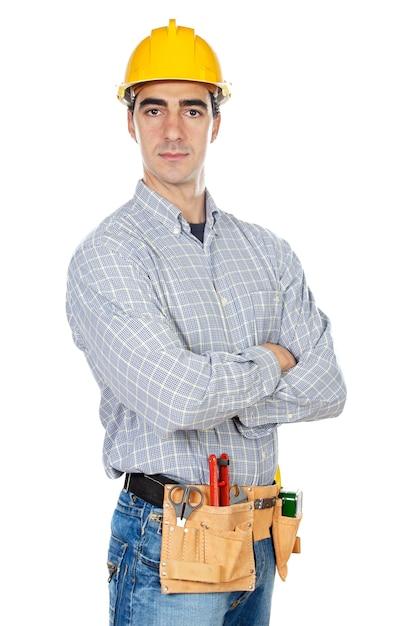 建設労働者は、上に白い背景 Premium写真