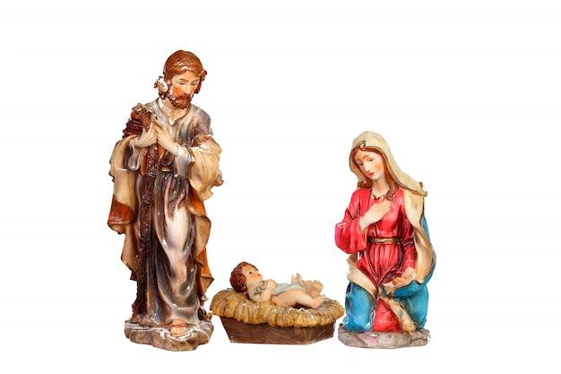 キリスト降誕のシーン:マリア、ヨセフ、赤ん坊のイエス Premium写真