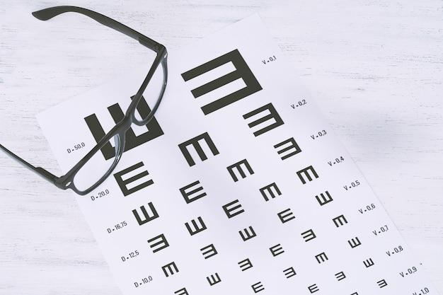 視力テストチャートの眼鏡 Premium写真