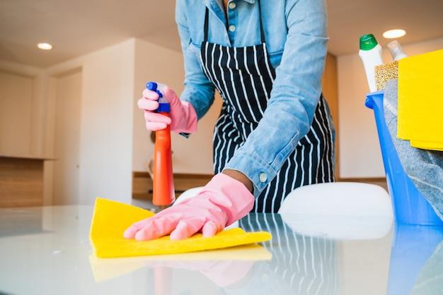 Конец-вверх женщины убирая ее дом. Premium Фотографии