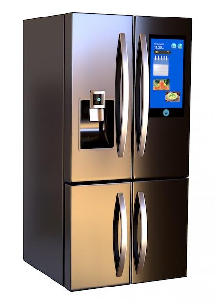 現代並んでいるステンレス鋼のスマートな冷蔵庫のタッチスクリーン Premium写真