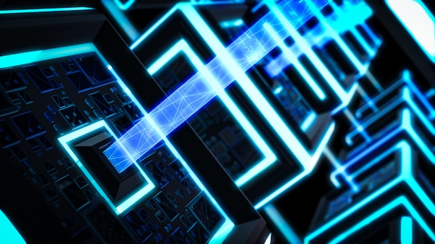 ブロックチェーン、現代のサイエンスフィクション技術の背景。 Premium写真