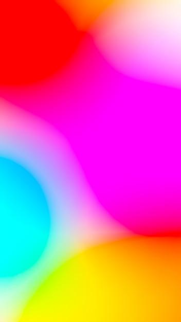赤黄色ピンクブルーミックスカラーとモバイルのスマートフォンの画面の抽象的な背景 Premium写真