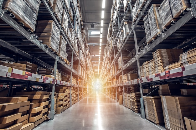 現代の産業倉庫内の商品ボックスを備えた棚の列を工場倉庫に保管 Premium写真