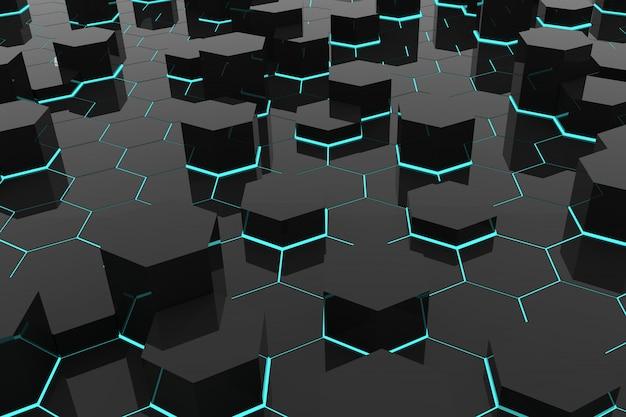幾何学的な六角形と抽象的な背景 Premium写真
