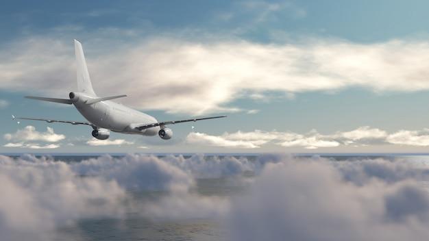 雲の上の航空機 Premium写真