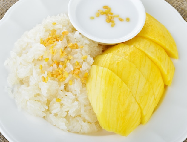 ココナッツミルクとミックスもち米と甘いマンゴー Premium写真
