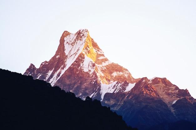 白の朝の光と山のピーク Premium写真