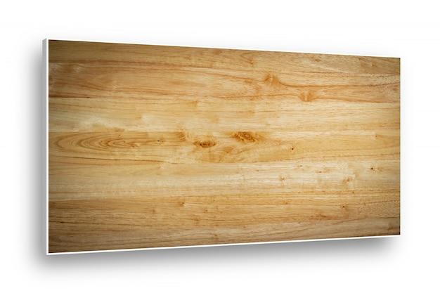 白い背景上に分離されて木製のトップテーブルパターン。 Premium写真