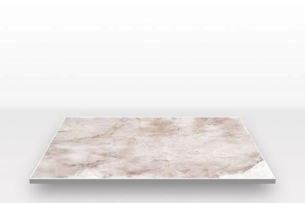 白い背景に分離された大理石の古いパターンの視点 Premium写真