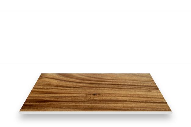 白い背景で隔離の木製テーブル視点 Premium写真