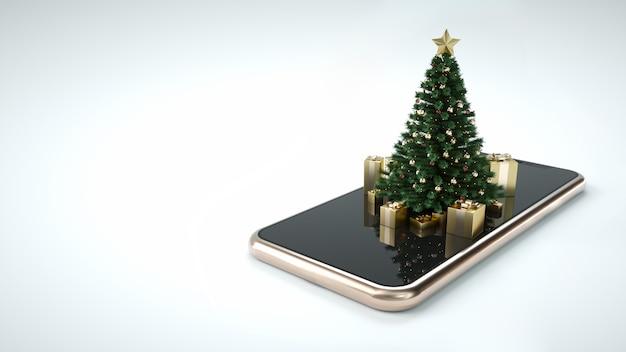 スマートフォンのクリスマスツリー Premium写真