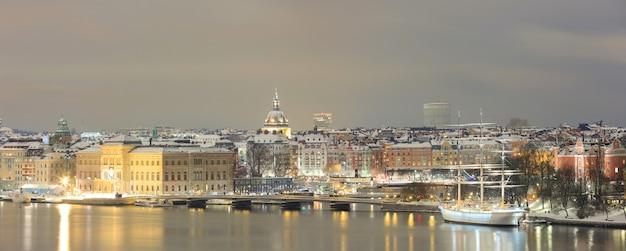 Панорама городского пейзажа стокгольма Premium Фотографии