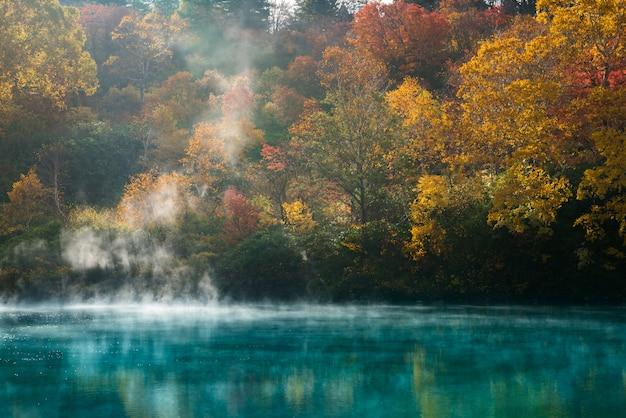 秋の温泉湖青森県 Premium写真