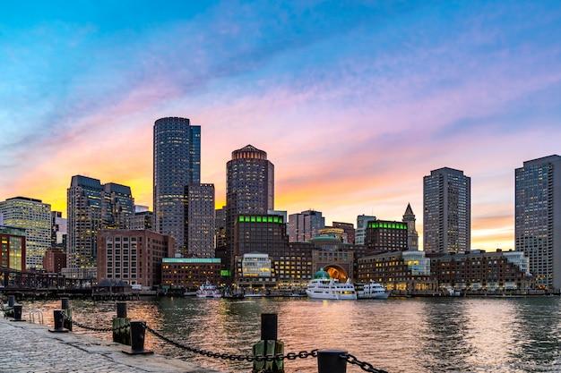 Бостон даунтонт ночь Premium Фотографии