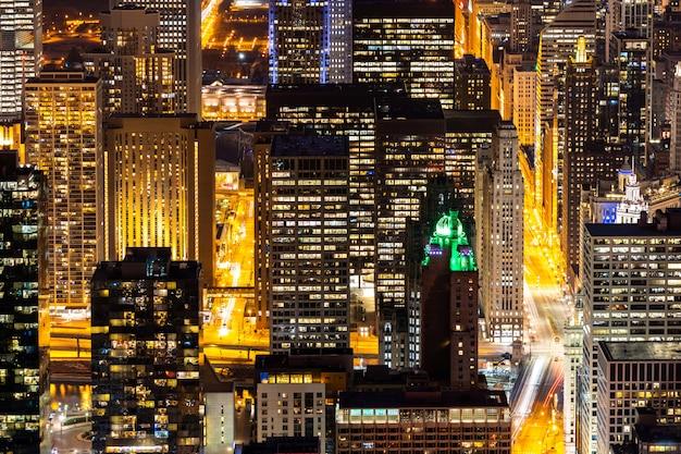 シカゴのスカイライン南の空撮 Premium写真