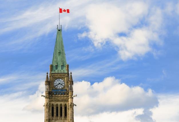 カナダ、オタワの国会議事堂の丘の平和の塔 Premium写真
