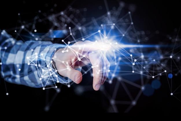人の手がデジタルインターフェース、世界規模の通信システムを使用 Premium写真