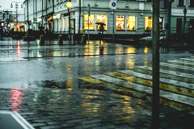 ヨーロッパの雨の中に濡れた街の通りの床の石畳のマクロ撮影 Premium写真