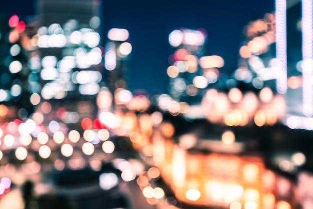 東京の街の夜ボケ背景 Premium写真