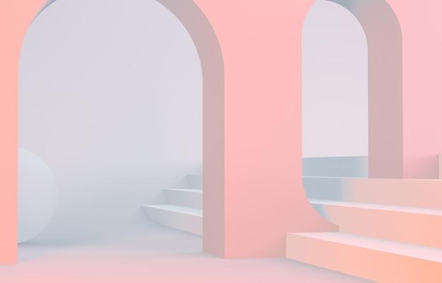 表彰台とアーチの幾何学的形態とのシーン Premium写真