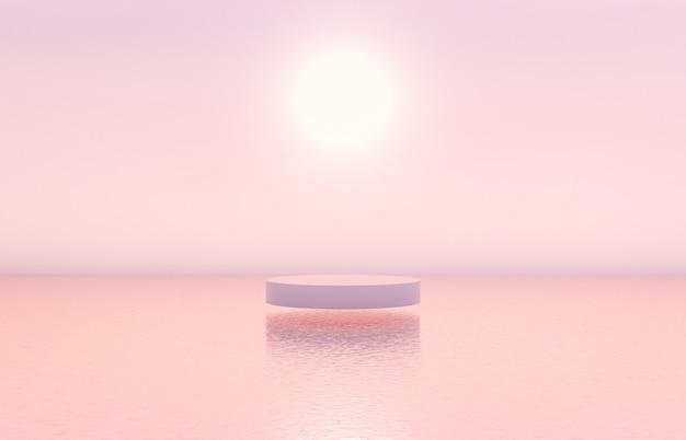 化粧品ディスプレイ用のシリンダーボックス付きの自然の美の表彰台の背景。 Premium写真