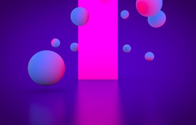 輝くネオン色の未来的な幾何学的形状の空のステージ。 Premium写真